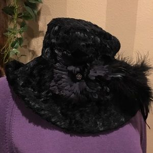 Stunning black faux fur hat. Made in France.